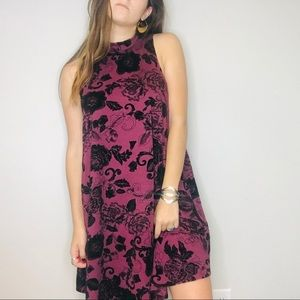NWT Philosophy purple velvet floral swing dress